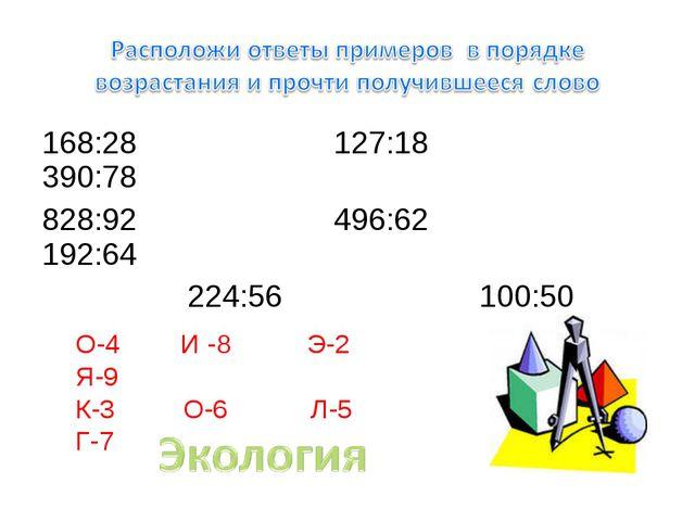 168:28 127:18 390:78 828:92 496:62 192:64 224:56 100:50 О-4 И -8 Э-2 Я-9 К-3...