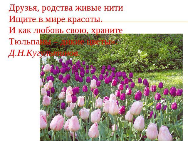 Друзья, родства живые нити Ищите в мире красоты. И как любовь свою, храните...