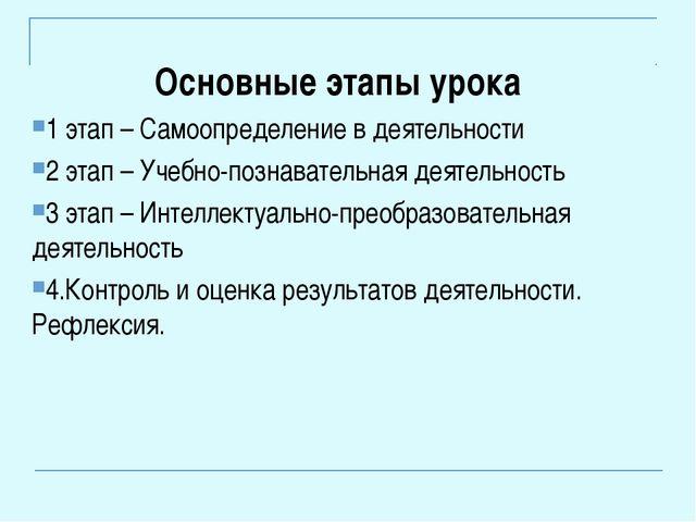 Основные этапы урока 1 этап – Самоопределение в деятельности 2 этап – Учебно...