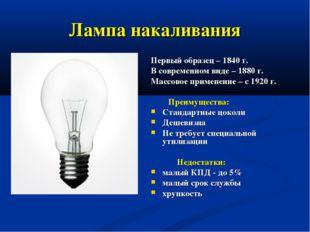 Лампа накаливания Первый образец – 1840 г. В современном виде – 1880 г. Массо