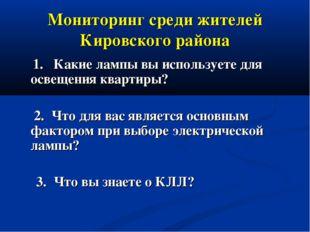 Мониторинг среди жителей Кировского района 1. Какие лампы вы используете для