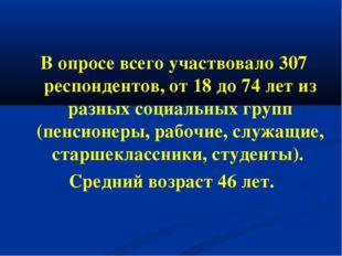 В опросе всего участвовало 307 респондентов, от 18 до 74 лет из разных социал