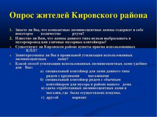 Опрос жителей Кировского района 1.Знаете ли Вы, что компактные люминесцентны