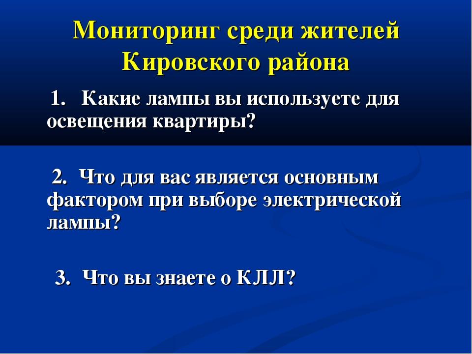 Мониторинг среди жителей Кировского района 1. Какие лампы вы используете для...