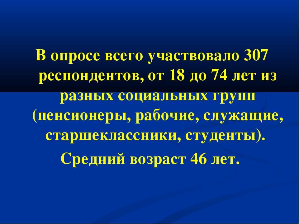 В опросе всего участвовало 307 респондентов, от 18 до 74 лет из разных социал...