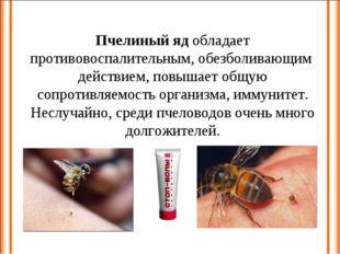 Пчелиный яд обладает противовоспалительным, обезболивающим действием, повышае