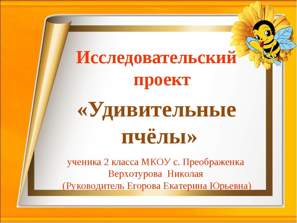 Исследовательский проект «Удивительные пчёлы» ученика 2 класса МКОУ с. Преобр...