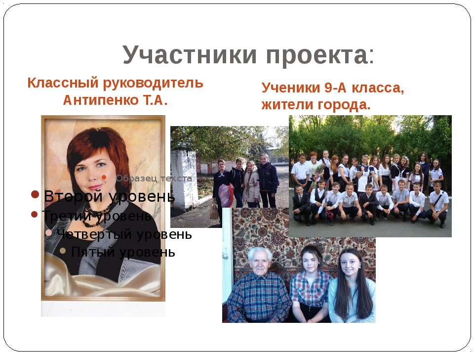 Участники проекта: Классный руководитель Антипенко Т.А. Ученики 9-А класса, ж...