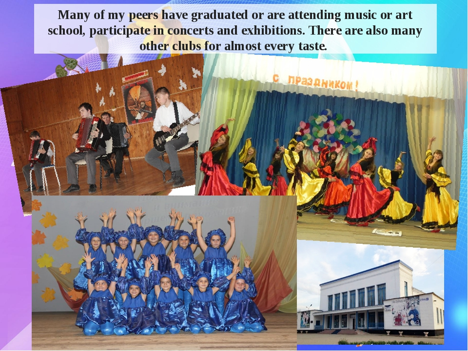 Many of my peers have graduated or are attending music or art school, partic...
