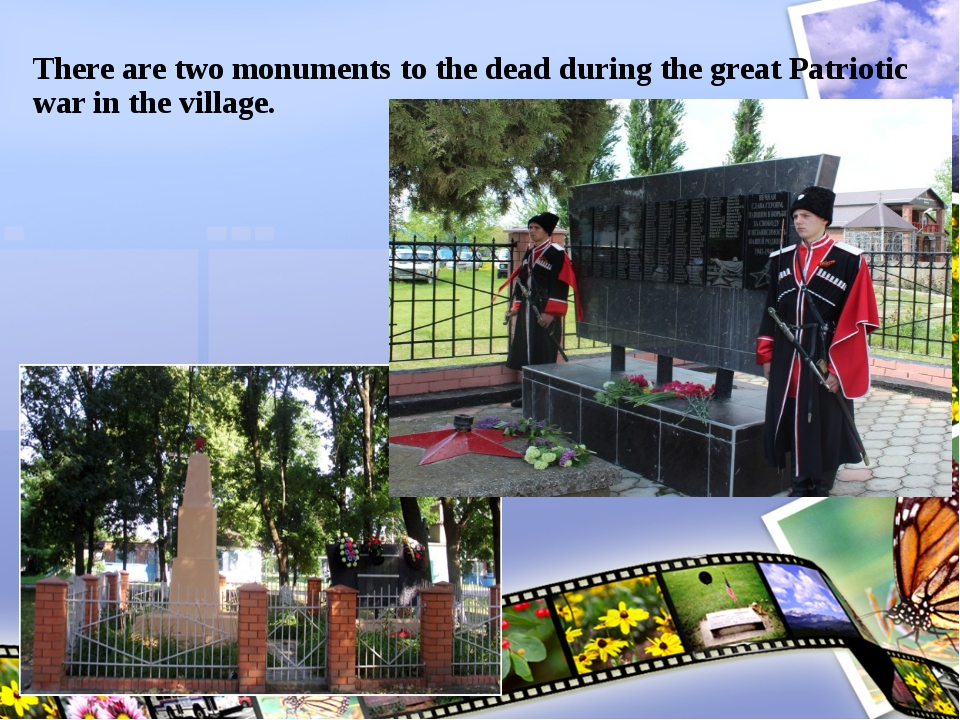 There are two monuments to the dead during the great Patriotic war in the vil...