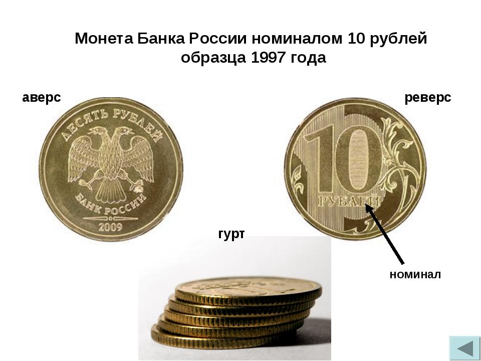 гурт реверс аверс Монета Банка России номиналом 10 рублей образца 1997 года н...
