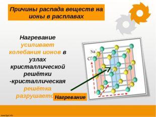 Нагревание усиливает колебания ионов в узлах кристаллической решётки -кристал