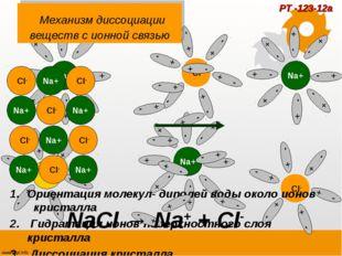 Механизм диссоциации веществ с ионной связью Ориентация молекул- диполей вод
