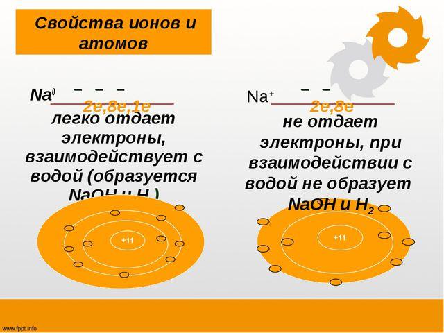 Na0 легко отдает электроны, взаимодействует с водой (образуется NaOH и H2 )...