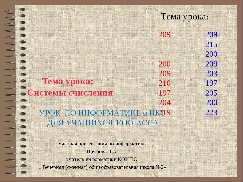 Тема урока: Системы счисления Учебная презентация по информатике, Щеглова Л,А...