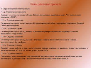 Этапы работы над проектом  5. Структурирование информации 1гр. Студенты-исс