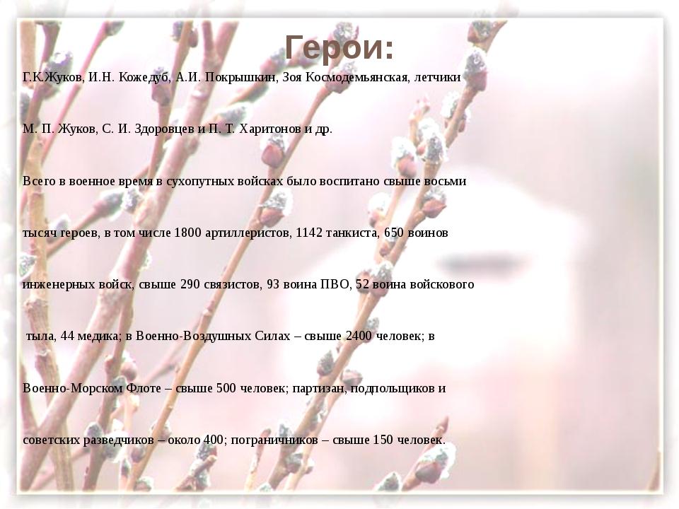 Герои: Г.К.Жуков, И.Н. Кожедуб, А.И. Покрышкин, Зоя Космодемьянская, летчики...