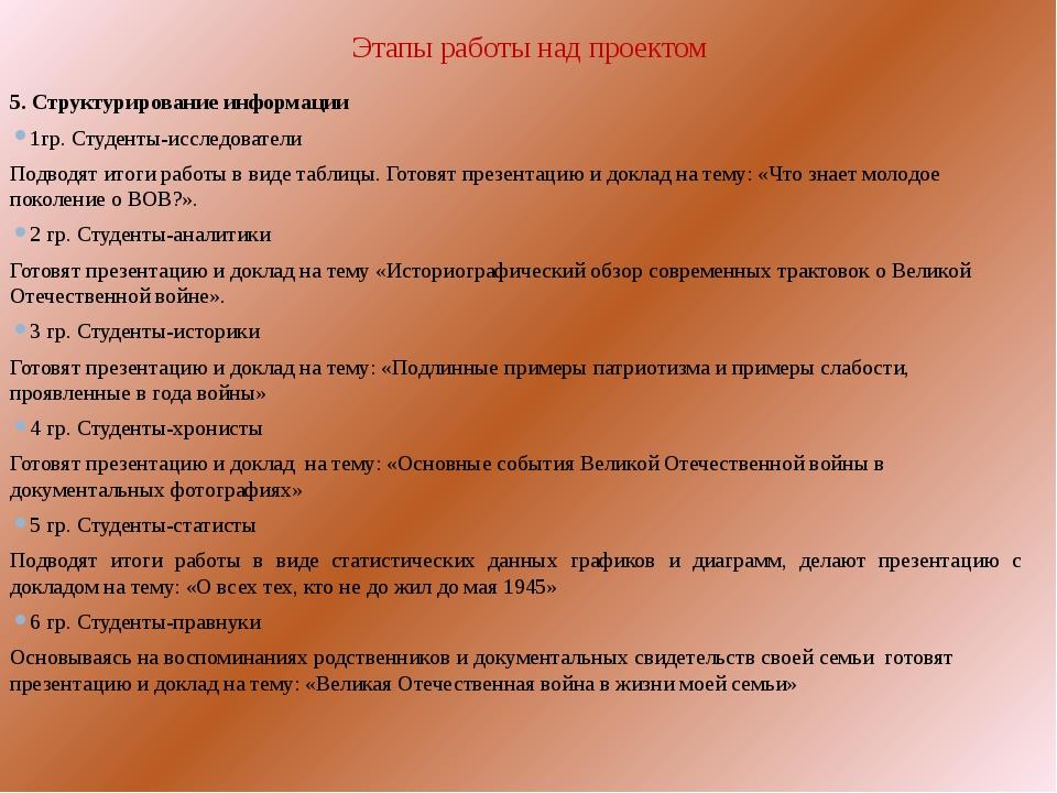 Этапы работы над проектом  5. Структурирование информации 1гр. Студенты-исс...