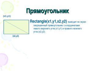 Прямоугольник Rectangle(x1,y1,x2,y2) выводит на экран закрашенный прямоугольн