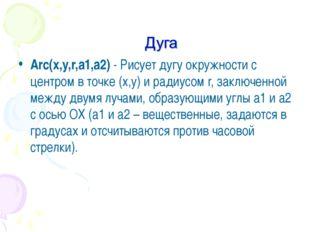 Arc(x,y,r,a1,a2)- Рисует дугу окружности с центром в точке (x,y) и радиусом