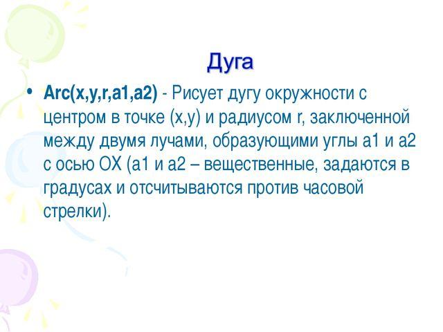 Arc(x,y,r,a1,a2)- Рисует дугу окружности с центром в точке (x,y) и радиусом...