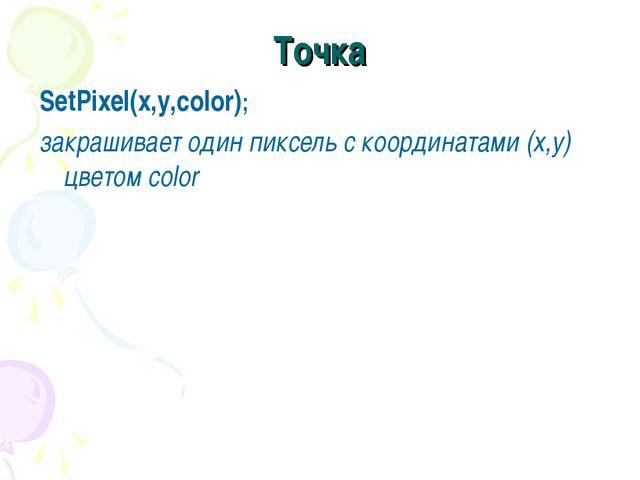 Точка SetPixel(x,y,color); закрашивает один пиксель с координатами (x,y) цвет...