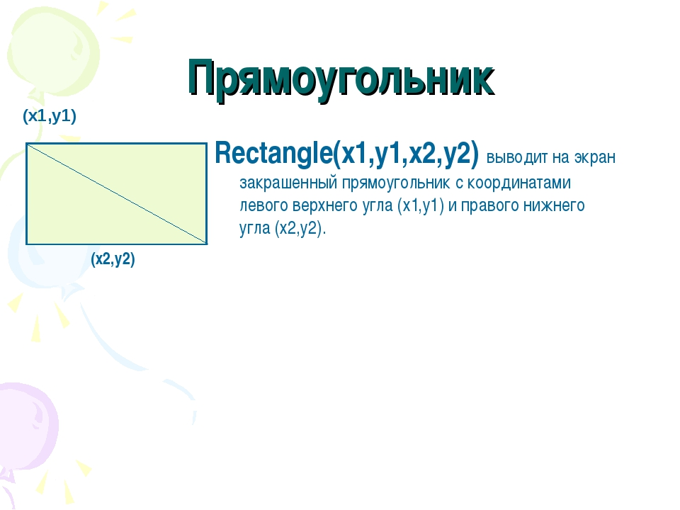 Прямоугольник Rectangle(x1,y1,x2,y2) выводит на экран закрашенный прямоугольн...