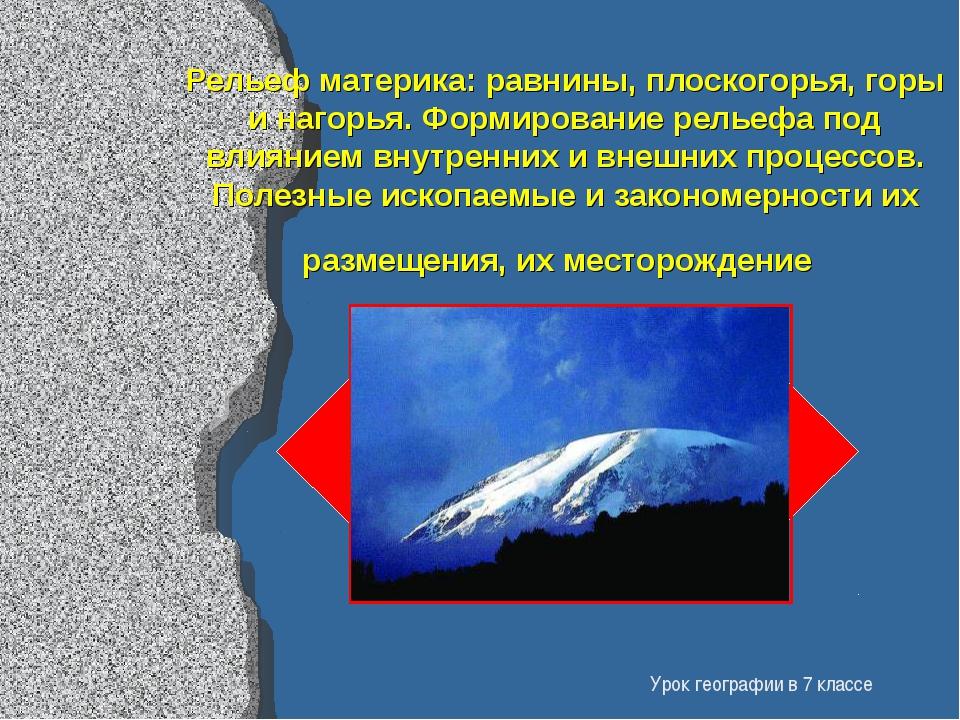 Рельеф материка: равнины, плоскогорья, горы и нагорья. Формирование рельефа п...