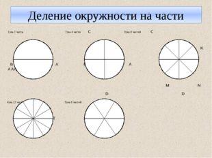 Деление окружности на части 1)на 2 части 2)на 4 части С 3)на 8 частей С R K В