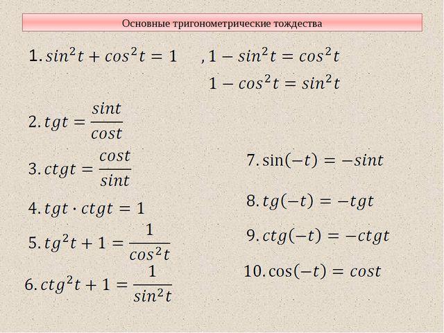 Основные тригонометрические тождества 1.
