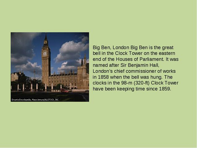 Big Ben, London Big Ben is the great bell in the Clock Tower on the eastern e...