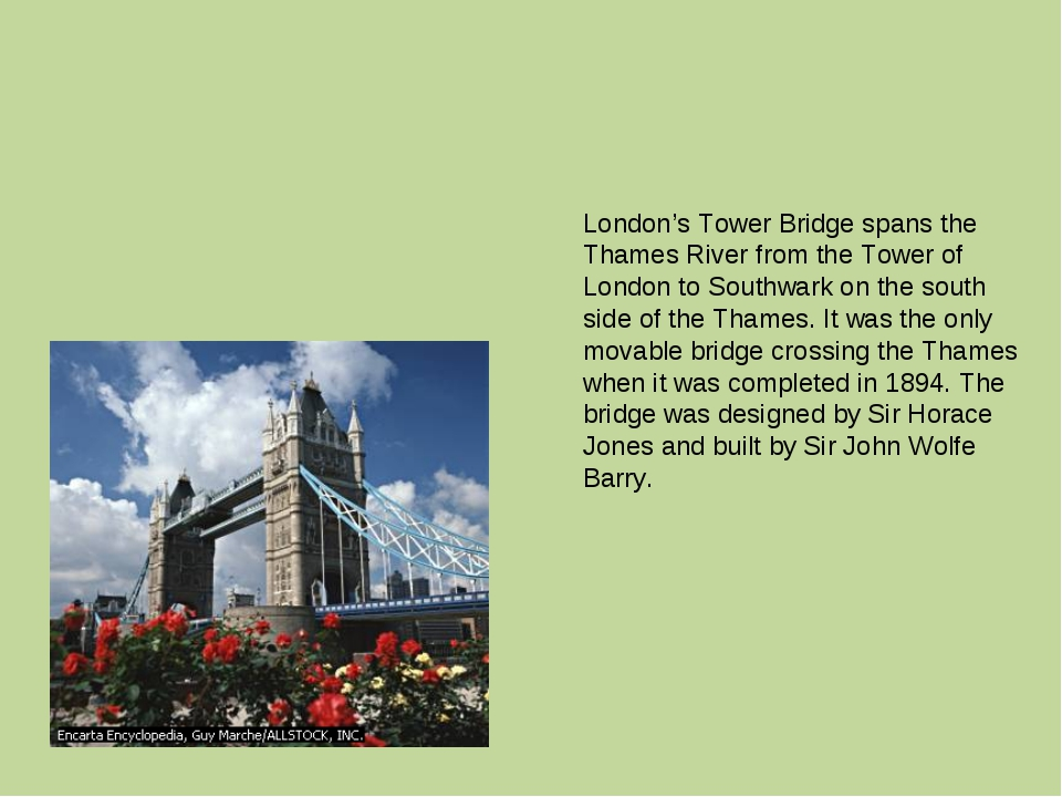 London's Tower Bridge spans the Thames River from the Tower of London to Sout...