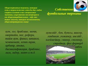 Общеспортивные термины, которые есть в термосистемах хотя бы двух видов спорт