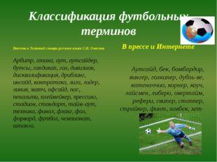 Классификация футбольных терминов Внесены в Толковый словарь русского языка С