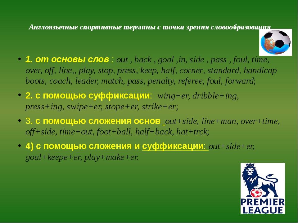 Англоязычные спортивные термины с точки зрения словообразования 1. от основы...