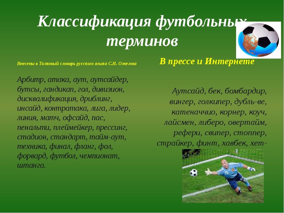 Классификация футбольных терминов Внесены в Толковый словарь русского языка С...