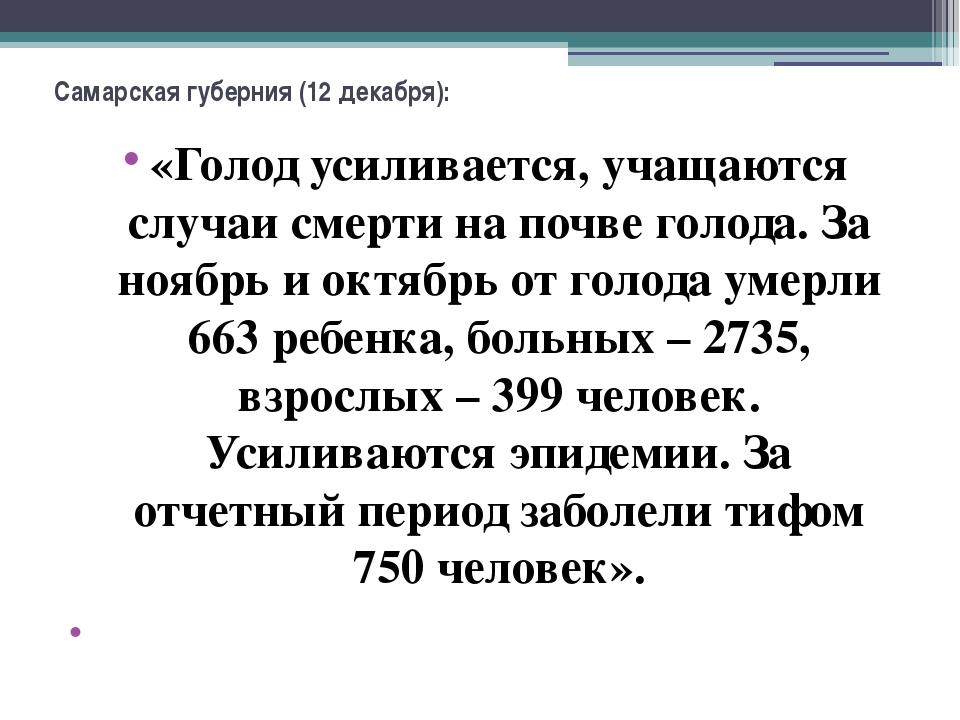 Самарская губерния (12 декабря): «Голод усиливается, учащаются случаи смерти...