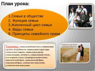 План урока: 1.Семья в обществе 2. Функции семьи 3.Жизненный цикл семьи 4. Вид