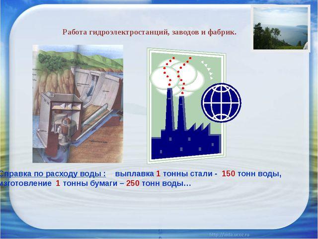 Работа гидроэлектростанций, заводов и фабрик. Справка по расходу воды : выпла...