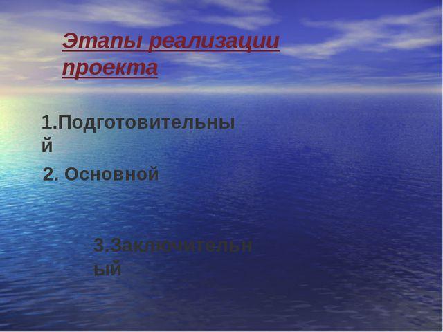Этапы реализации проекта 1.Подготовительный 2. Основной 3.Заключительный