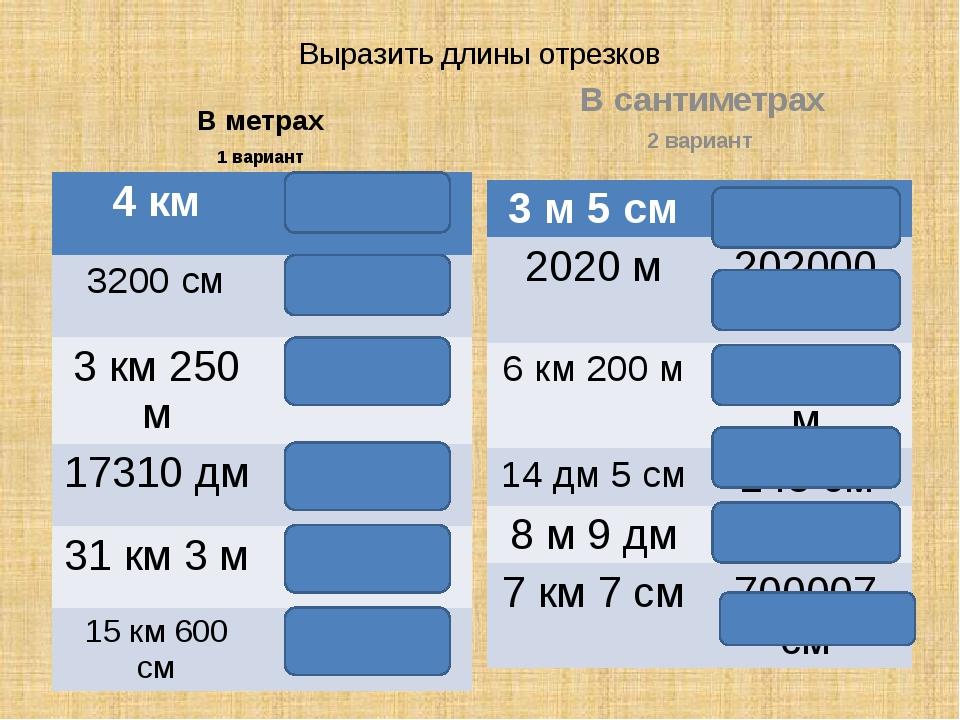 Выразить длины отрезков В метрах 1 вариант В сантиметрах 2 вариант 4км 4000 м...