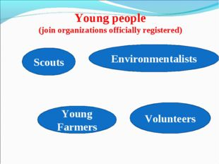 Young people (join organizations officially registered) Scouts Volunteers You