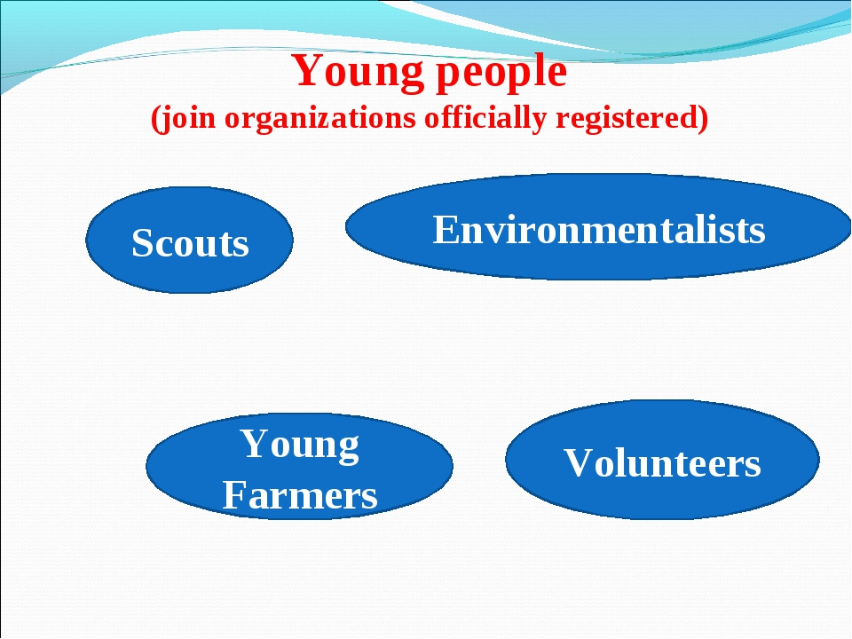 Young people (join organizations officially registered) Scouts Volunteers You...