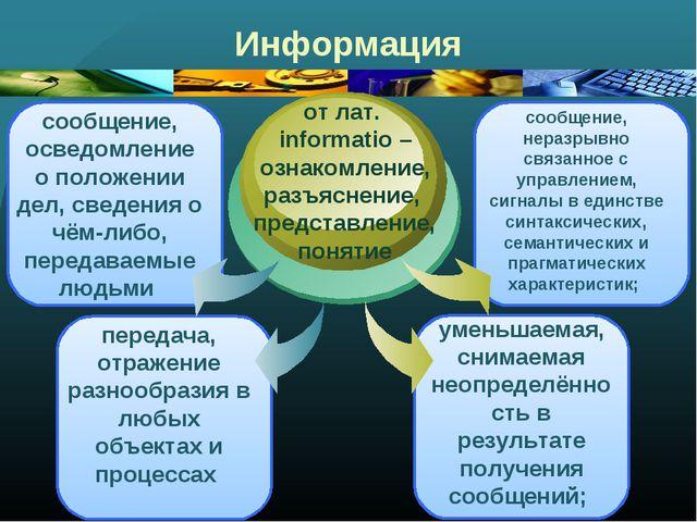 Информация сообщение, осведомление о положении дел, сведения о чём-либо, пере...