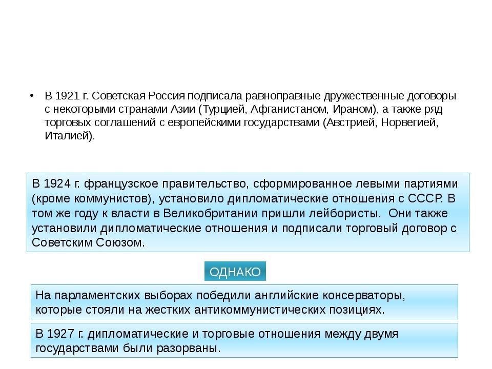 Международные связи Советского Союза. В 1921 г. Советская Россия подписала ра...