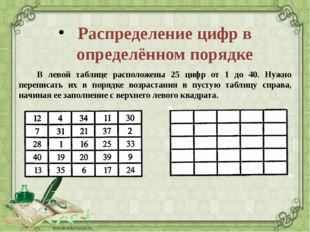 Распределение цифр в определённом порядке В левой таблице расположены 25 циф