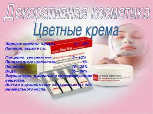 Жирные кислоты, эфиры 10 – 15% Ланолин, воски и т.п. Глицерин, увлажнители 5