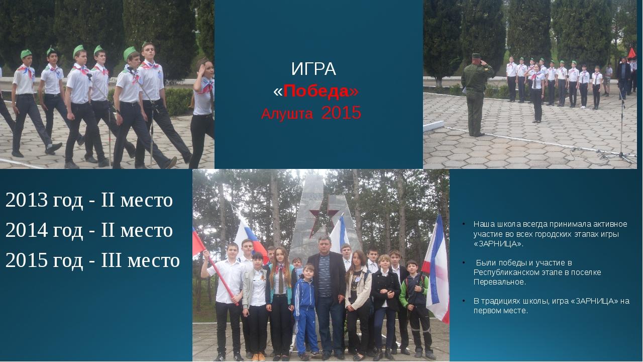 ИГРА «Победа» Алушта 2015 2013 год - II место 2014 год - II место 2015 год -...