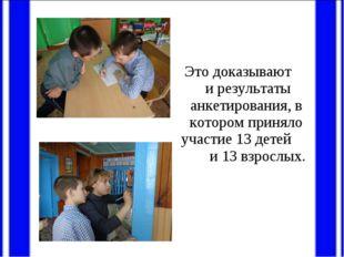 Это доказывают и результаты анкетирования, в котором приняло участие 13 дете
