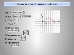Функция y=sin x, график и свойства. 1)D(y)= 2)E(y)= 3) 4)sin(-x)= -sinx 5)Воз